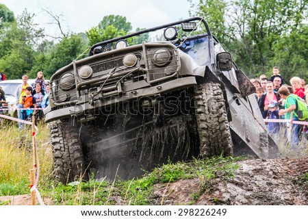 ASHA, RUSSIA - JULY 18, 2015: Off-road vehicle UAZ 3151 at the dirt road. - stock photo
