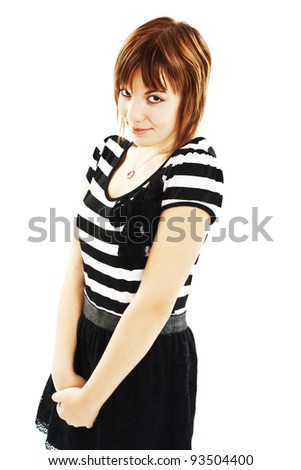 Ashamed Attractive Girl Standing. Isolated on white background. - stock photo