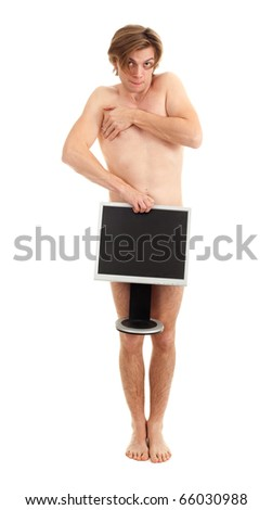 ashamed, naked handsome young man with monitor