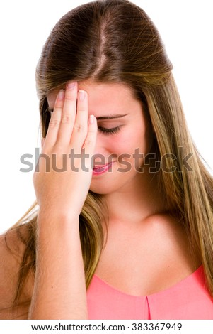 Ashamed or embarrassed Hispanic young woman.  - stock photo