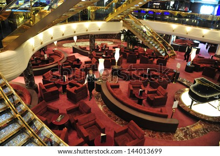 ASHDOD, ISR - MAR 09:The lobby of MSC - SPLENDIDA on March 09 2010.It's on of the most luxurious ship sail in the Mediterranean sea. It can accommodate 4000 passengers and 2000 crew members.