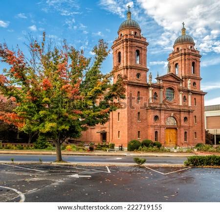 Asheville, NC church in autumn - stock photo