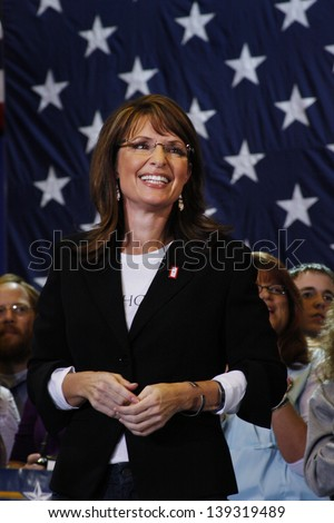 ASHEVILLE, NC - OCT. 26: Republican Vice Presidential candidate Sarah Palin at a campaign rally at the Asheville Civic Center on October 26, 2008. - stock photo
