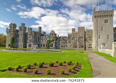 Ashford castle and gardens - Co. Mayo - Ireland - stock photo