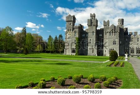 Ashford castle in Ireland - stock photo