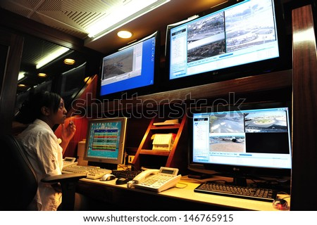 ASHKELON, ISR - JAN 18:CCTV security system operator on Jan 18 2009.According to a research, the average citizen is caught about 300 times a day on a CCTV camera. - stock photo