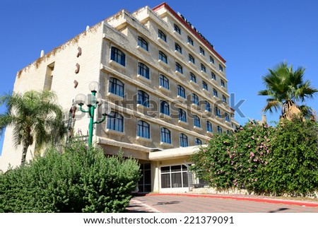 ASHKELON, ISRAEL- OCTOBER 04, 2014: The Dan Gardens Hotel, Ashkelon, blends a scenic Mediterranean location with a country club atmosphere..248 standard rooms. - stock photo