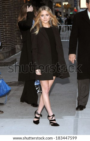 Ashley Olsen, wearing The Row, at talk show appearance for THURSDAY - The Late Show With David Letterman, Ed Sullivan Theatre, New York, NY, October 30, 2008 Photo by Lee/Everett Collection - stock photo