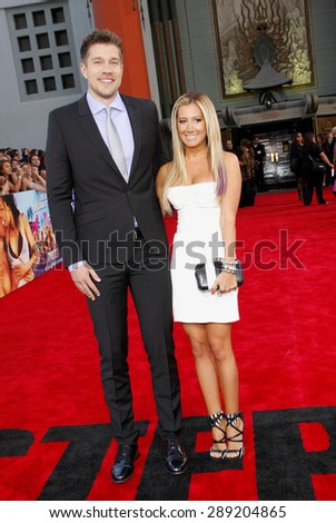 Ashley Tisdale and Scott Speer at the Los Angeles premiere of 'Step Up Revolution' held at the Grauman's Chinese Theatre in Hollywood on July 17, 2012.  - stock photo