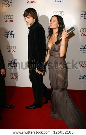 "Ashton Kutcher and Demi Moore at the AFI Fest 2006 Opening Night Premiere of ""Bobby"". Grauman's Chinese Theatre, Hollywood, California. November 1, 2006. - stock photo"