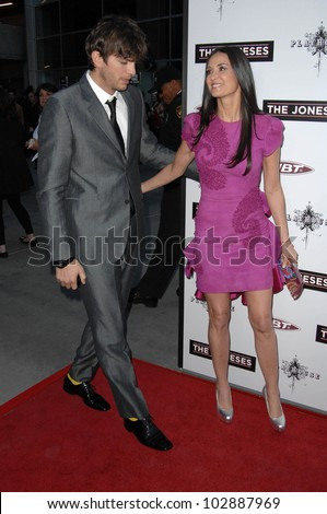 "Ashton Kutcher and Demi Moore at ""The Joneses"" Los Angeles Premiere, ArcLight Cinemas, Hollywood, CA. 04-08-10 - stock photo"