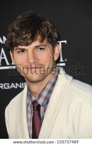 "Ashton Kutcher at the Los Angeles premiere of his movie ""Jobs"" at the Regal Cinemas LA Live. August 13, 2013  Los Angeles, CA - stock photo"