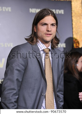 "Ashton Kutcher at the world premiere of his new movie ""New Year's Eve"" at Grauman's Chinese Theatre, Hollywood. December 5, 2011  Los Angeles, CA Picture: Paul Smith / Featureflash - stock photo"