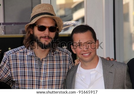 Ashton Kutcher, Jon Cryer at Jon Cryer's induction into the Hollywood Walk of Fame, Hollywood, CA. 09-19-11 - stock photo