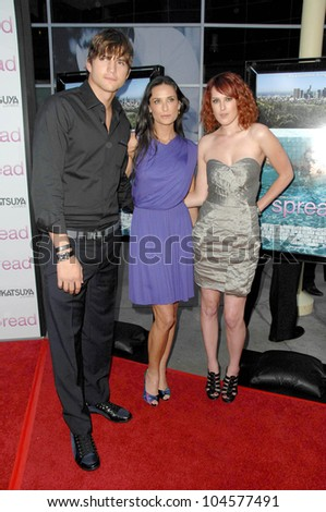 Ashton Kutcher with Demi Moore and Rumer Willis  at the Los Angeles Premiere of 'Spread'. Arclight Cinemas, Hollywood, CA. 08-03-09