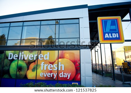 ASHTON-UNDER-LYNE, MANCHESTER: DEC 11: Aldi Food Market Dec 11, 2012 in Ashton-Under-Lyne, Manchester, UK. The German-based discount supermarket chain currently operates over 8,000 stores. - stock photo