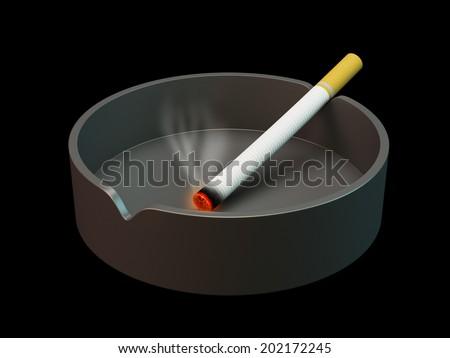 Ashtray and cigarette - stock photo