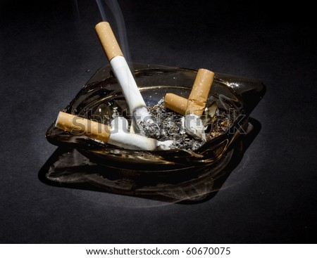 ashtray and cigarette - stock photo