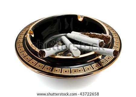 ashtray and cigarettes - stock photo