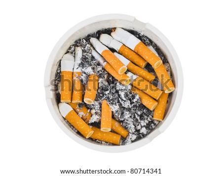 Ashtray and cigarettes isolated on white background - stock photo