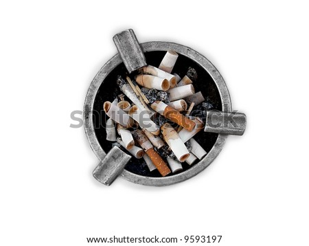 ashtray filled with butts - stock photo