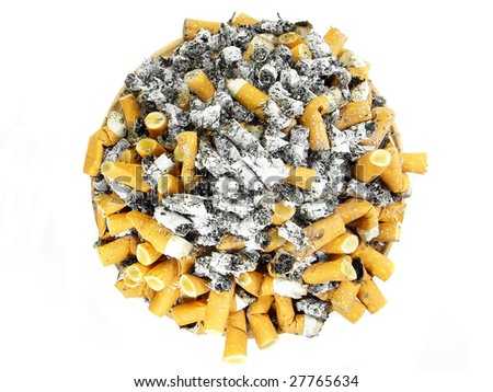 Ashtray full of cigarettes butts over white background - stock photo