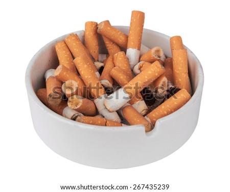 Ashtray full of cigarettes isolated on white background - stock photo