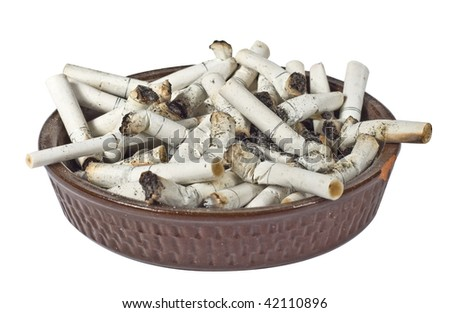 Ashtray full of disgusting stubs isolated on a white background - stock photo