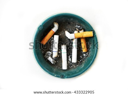 Ashtray of cigarette butts  - stock photo