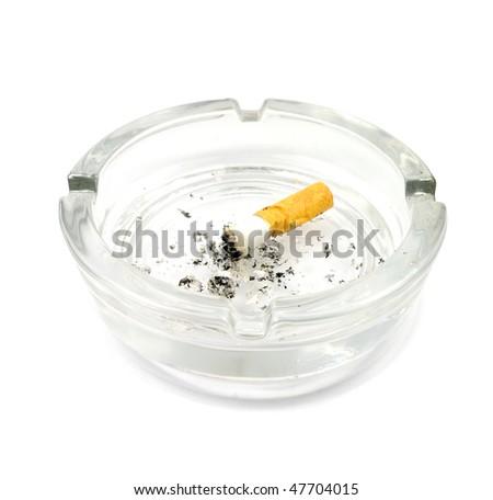 ashtray with butt - stock photo