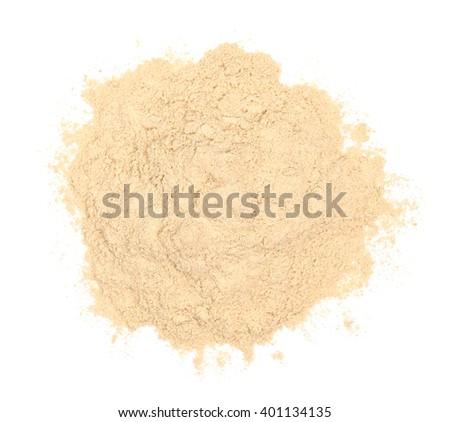 Ashwagandha powder isolated on white, top view - stock photo