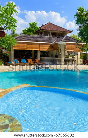 Asia. A tropical country house before pool - stock photo