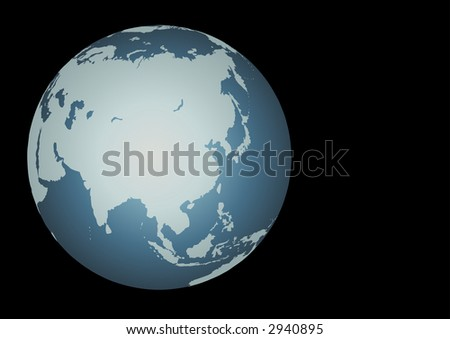 Asia. Accurate and mapped onto a globe. Includes large lakes and seas of Russia, island chains, etc - stock photo