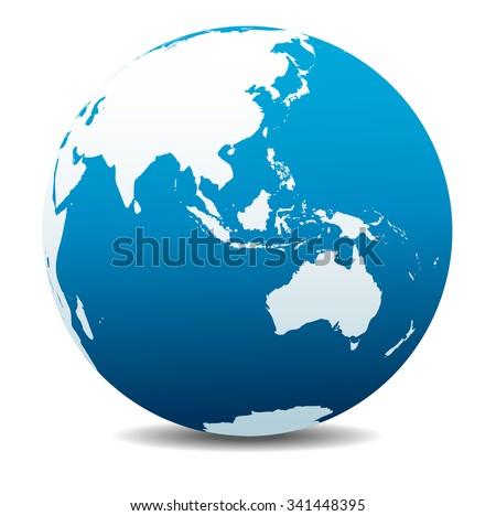 Asia and Australia, Global World - Raster Version - stock photo