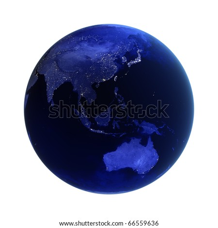 Asia and Australia on white. Maps from NASA imagery - stock photo