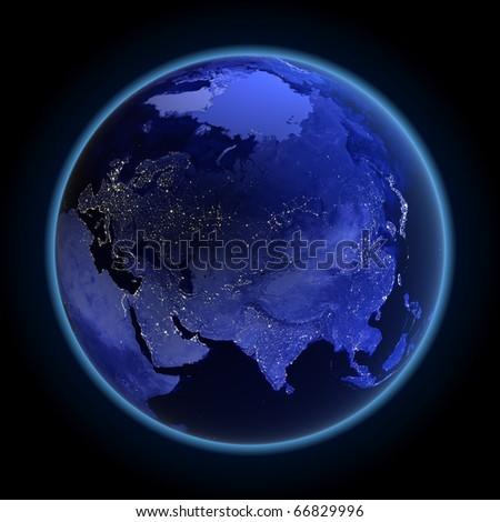 Asia and Russia. Maps from NASA imagery - stock photo