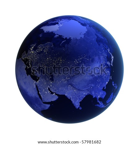 Asia and Russia on white. Maps from NASA imagery - stock photo
