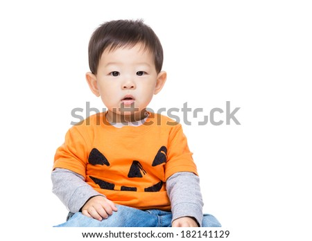 Asia baby boy with halloween party dressing - stock photo
