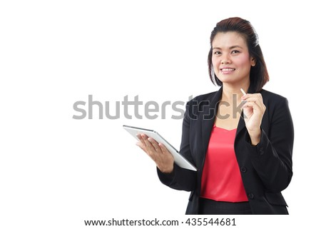 Asia beautiful modern businesswoman holding tablet and looking at camera, isolate on white background. - stock photo