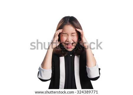 Asia business woman frustrated and stressed on white background. - stock photo