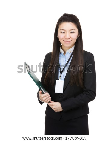 Asia business woman with file pad