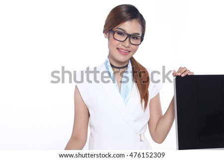 Asia Business Working Woman Model in White executive look, wooden table, Stuff file and modern computer