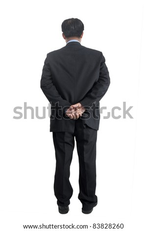 asia businessman standing over white