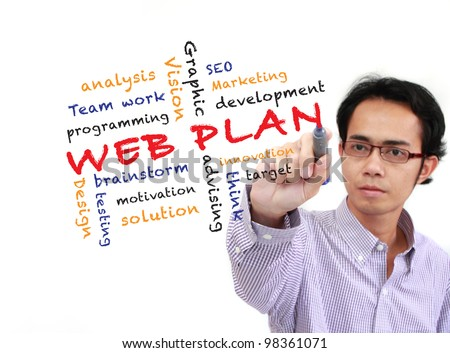 asia businessman writing Web plan concept and other related words, on white board isolated on white background - stock photo