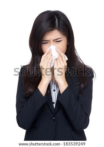 Asia businesswoman sneeze - stock photo
