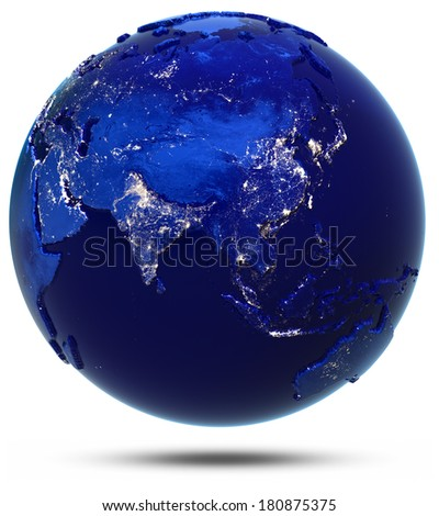 Asia continent and countries. Elements of this image furnished by NASA - stock photo