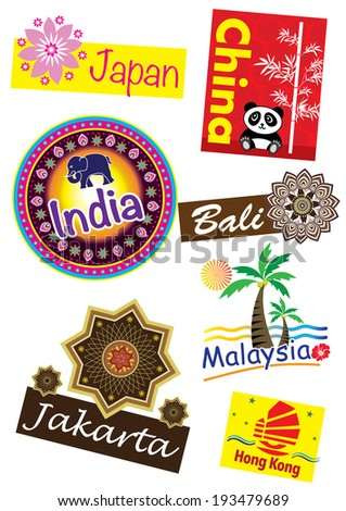 Asia country travel icon set - stock photo