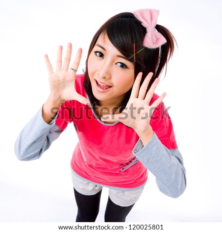 asia cute girl  contact,lens,spring,pink,eyes,finger  - stock photo