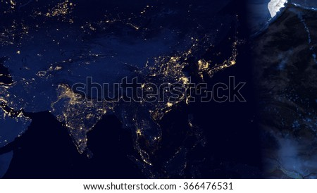 Asia from space - Image Map Composition (Elements of this image furnished by NASA)
