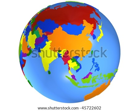 Asia globe map, with the country in different colors. - stock photo